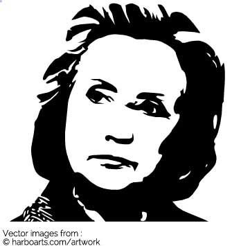 335x355 Download Thoughtful Hillary Clinton Stencil
