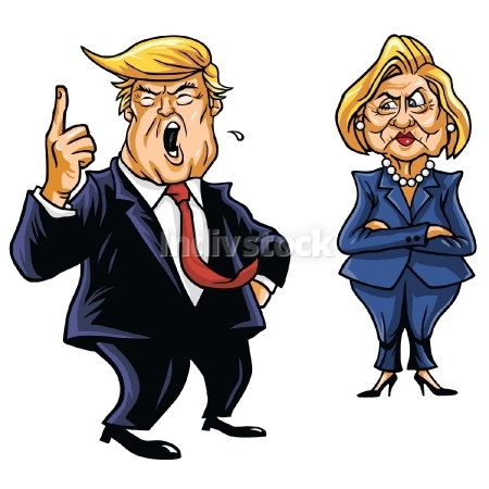 450x450 Editorial Use Only Donald Trump Cartoon Shouting And Hillary