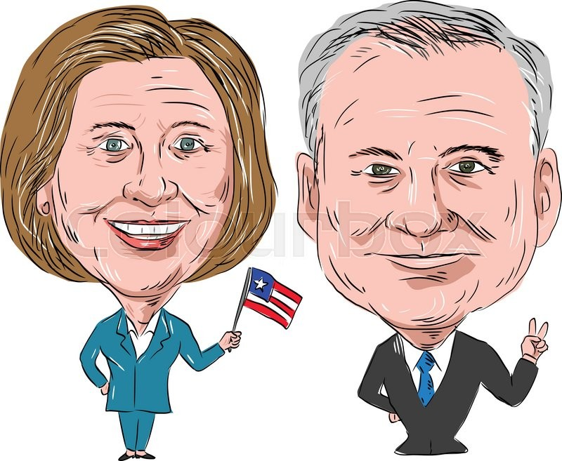800x657 Caricature Illustration Of Democratic Party Candidates Hillary