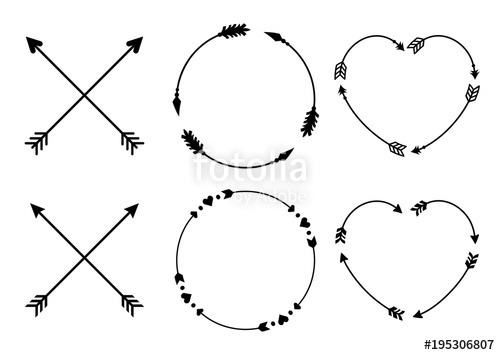 500x355 Circle And Heart Arrow Frames For Monograms. Criss Cross Hipster