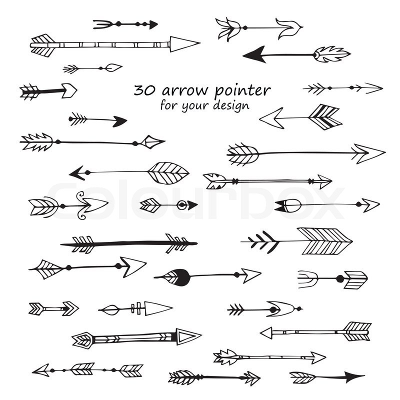 800x800 A Set Of Cute Hipster Arrows, Hand Drawn Doodles Stock Vector