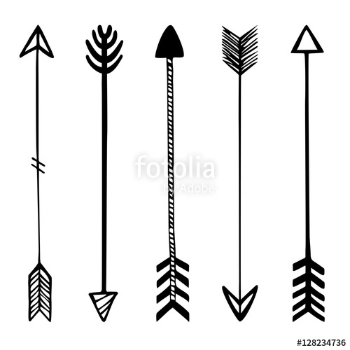 500x500 Set Of Black Hand Drawn Arrows. Hipster Ethnic Vector Elements