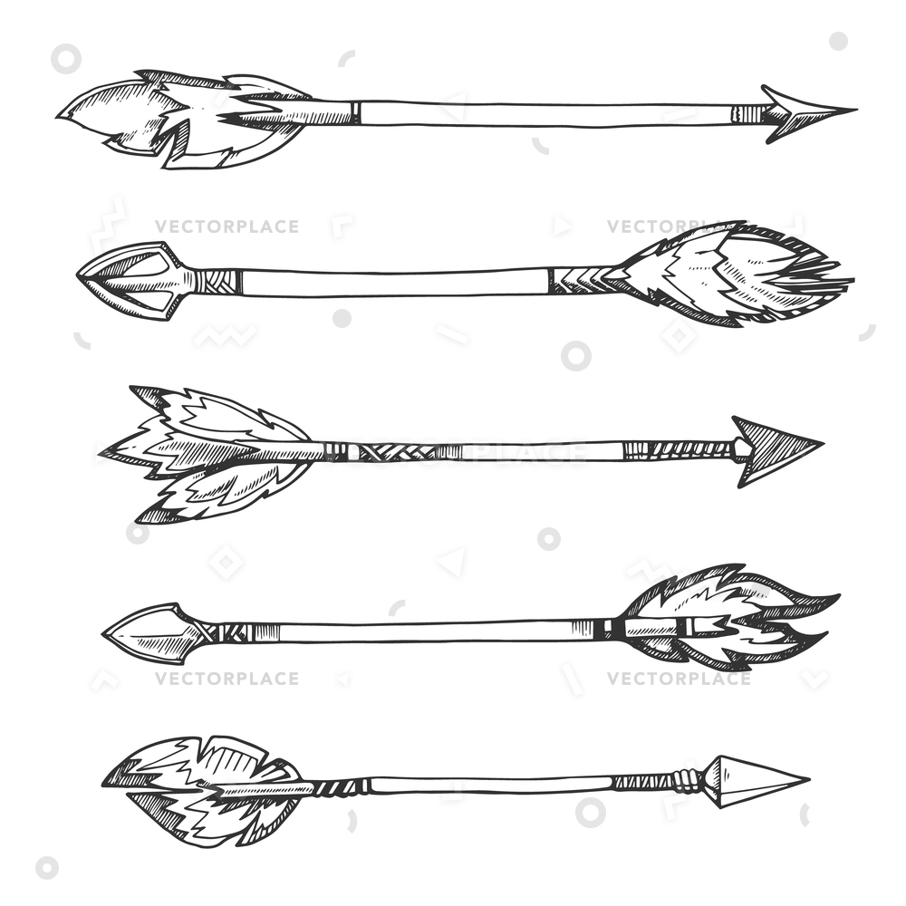 1000x1000 Tribal Indian Arrows Hand Drawn Decorative Vector Illustration