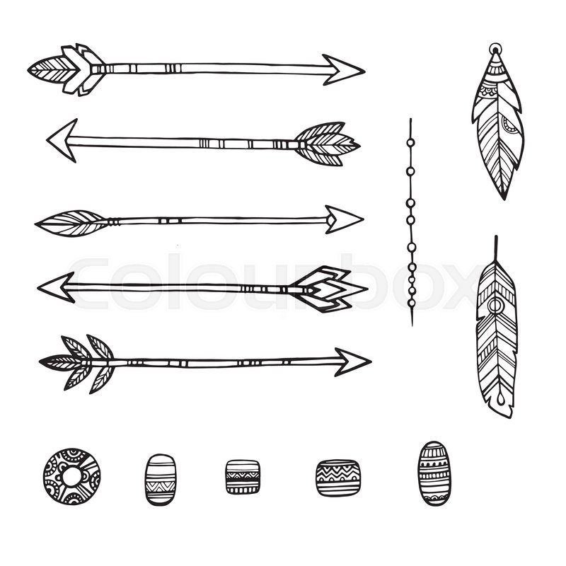 800x800 Tribal Indian Arrows. Hand Drawn Decorative Elements In Boho Style