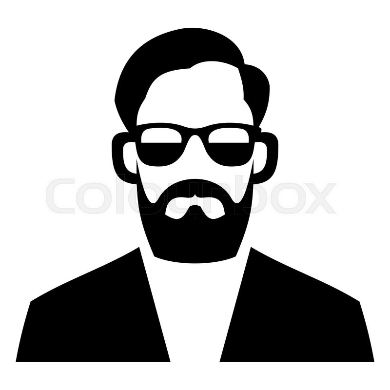 800x800 Hipster Fashion Man Hair, Glasses And Beards. Vector Illustration