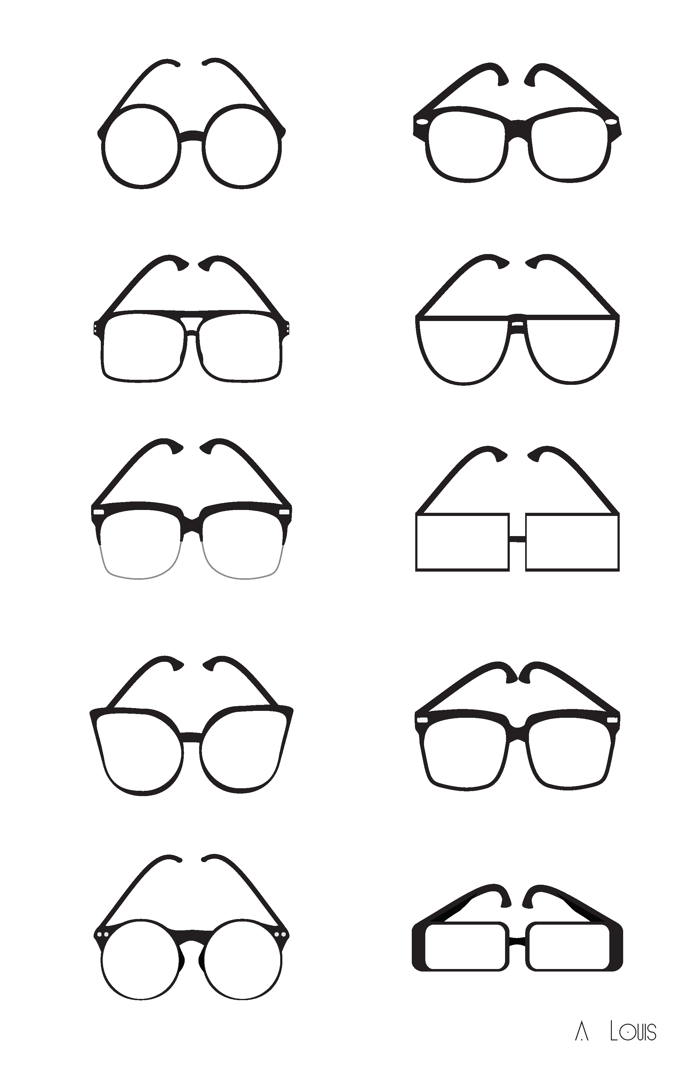 2200x3400 Hipster Glasses Icons By Igleekartist