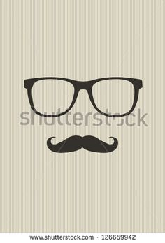 236x348 Men Face With Mustache And Black Hipster Glasses Vector Ann And