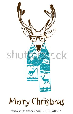 300x470 Portrait Of A Christmas Reindeer Dressed In A Winter Scarf And