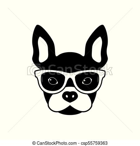 450x470 Portrait Of French Bulldog With Glasses, Black And White Flat