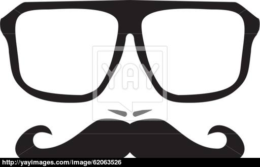 512x329 Vector Men Face With Mustache And Huge, Hipster Glasses Vector