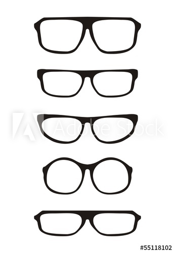 346x500 Black Glasses Vector Hipster Set Isolated On White Background