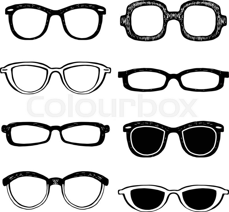 800x740 Drawn Glasses Vector Set. Retro Hipsters Style. Stock Vector