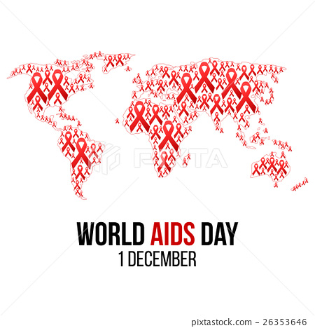 450x468 Vector Illustration Of Hiv,aids Awareness.