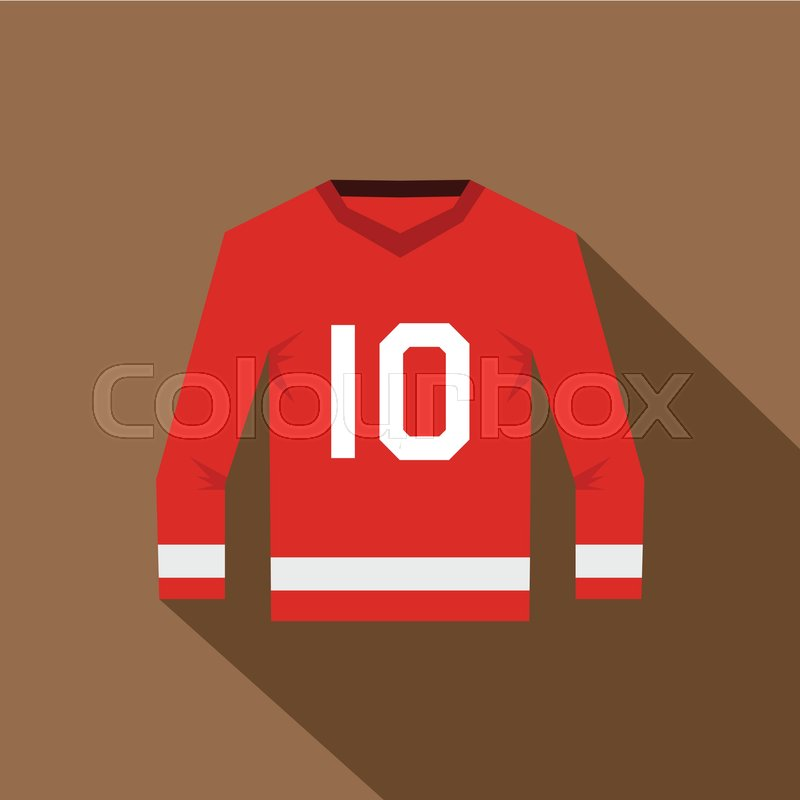 800x800 Red Canadian Hockey Jersey Icon. Flat Illustration Of Canadian
