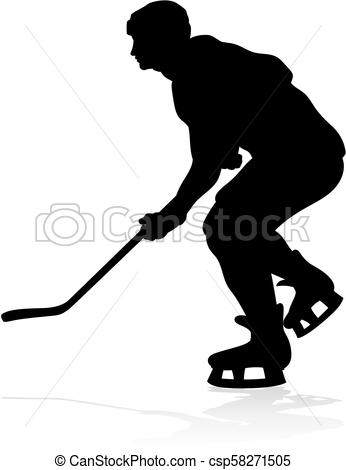 346x470 Silhouette Ice Hockey Player. A Silhouette Ice Hockey Player