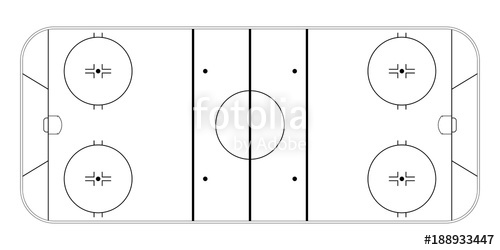 500x250 Ice Hockey Rink. Sport Field Background. Vector Illstration