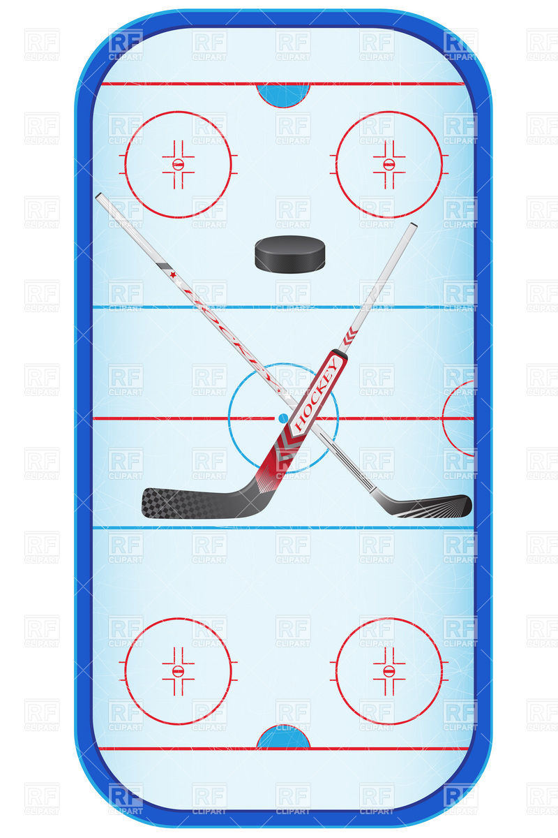 800x1200 Hockey Rink (Stadium) And Hockey Stick Vector Image Vector