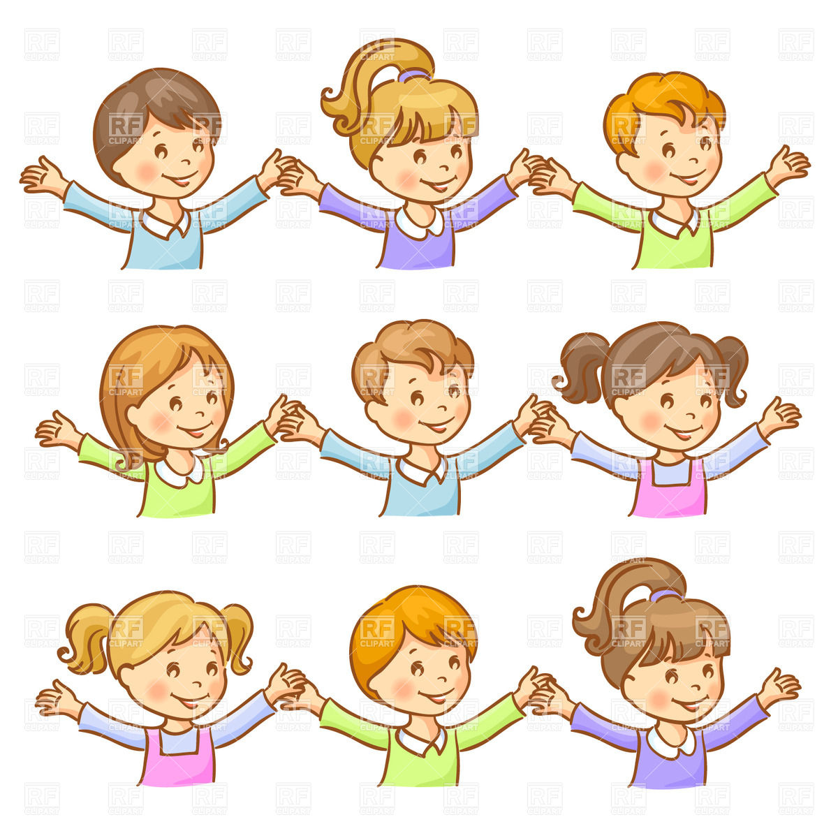 1200x1200 Happy Children Holding Hands Vector Image Vector Artwork Of