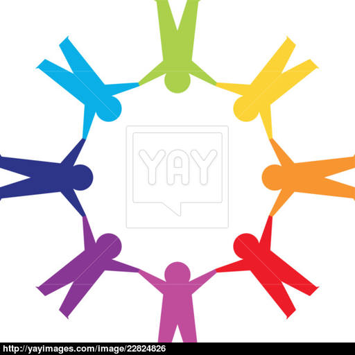 512x512 Paper People In Circle Holding Hands Vector