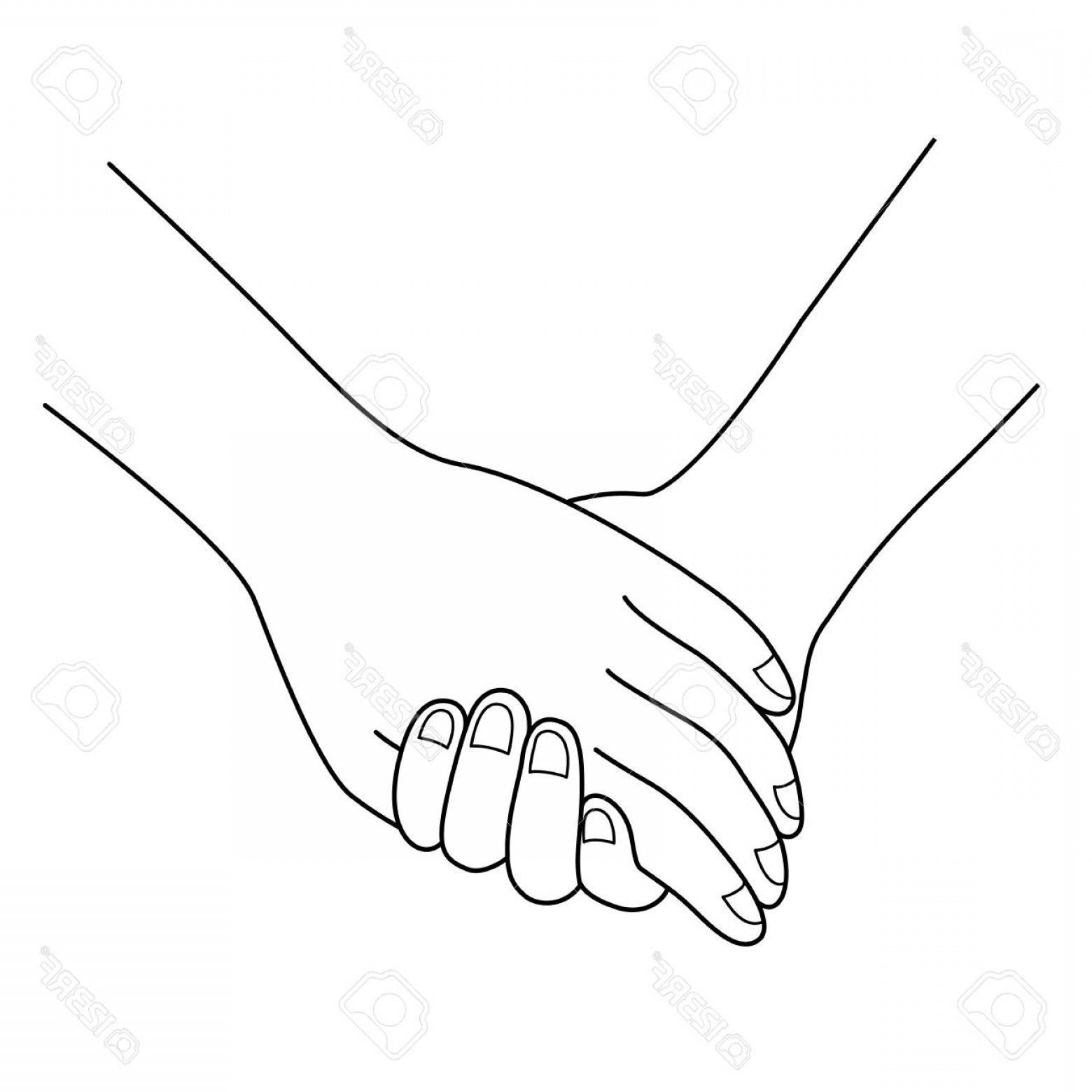 1560x1560 Photostock Vector Couple Holding Hands Outline Hand Drawn Style