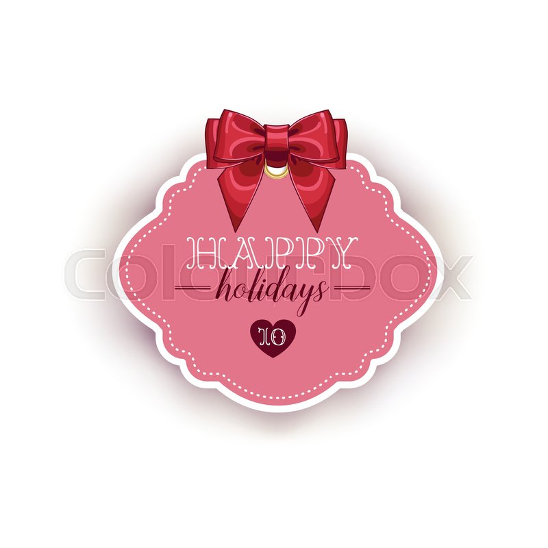 800x800 Happy Holiday Card Template With Ribbon Vector Illustration