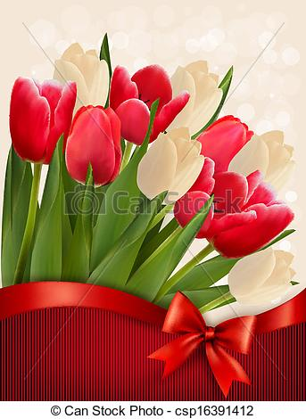 343x470 Holiday Background With Bouquet Of Red Flowers With Bow And Ribbon