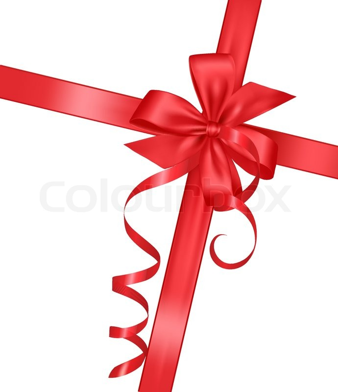 690x800 Holiday Red Bow With A Ribbon. Vector. Stock Vector Colourbox