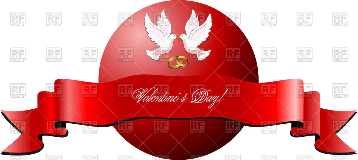 1200x537 Valentine`s Day Banner With Doves On Red Circle And Ribbon Vector