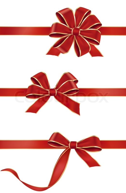 522x800 Vector Illustration. Collection Of Holiday Red Bows With Ribbons