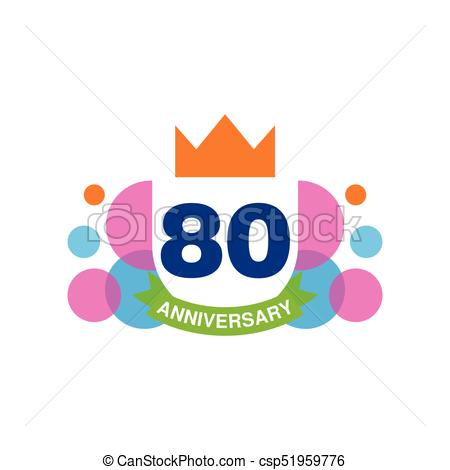 450x470 80th Anniversary Colored Logo Design, Happy Holiday Festive
