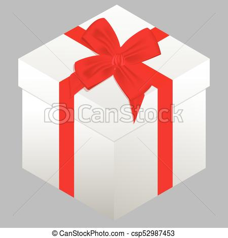 450x470 Box. Present. Holiday. Vector Illustration. Gift Box With Red