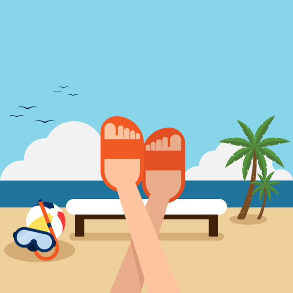 600x600 Happy Holiday With Summer Beach Vector Background Free Download
