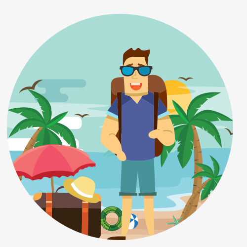 500x500 Island Holiday, Vector Diagram, Beach Island, Cartoon Characters
