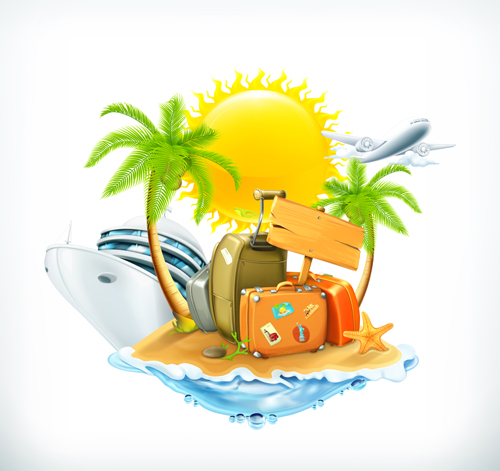 500x471 Sea Island Summer Holiday Elements Vector Background 04 Free Download