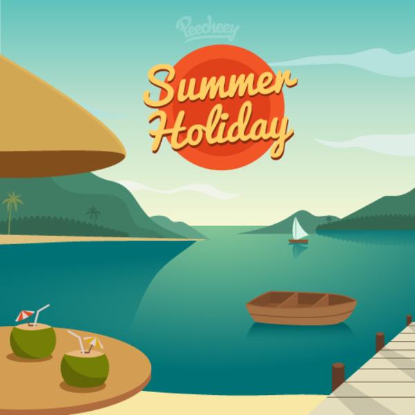 600x600 Summer Holiday Free Vector 123freevectors