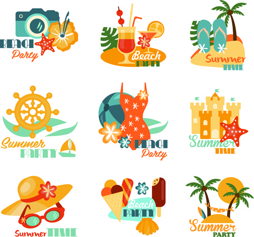 500x467 Summer Beach Holiday Labels Vintage Vector Free Vector In