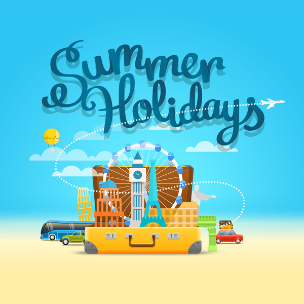 600x600 Travel World With Summer Holiday Vector Free Download