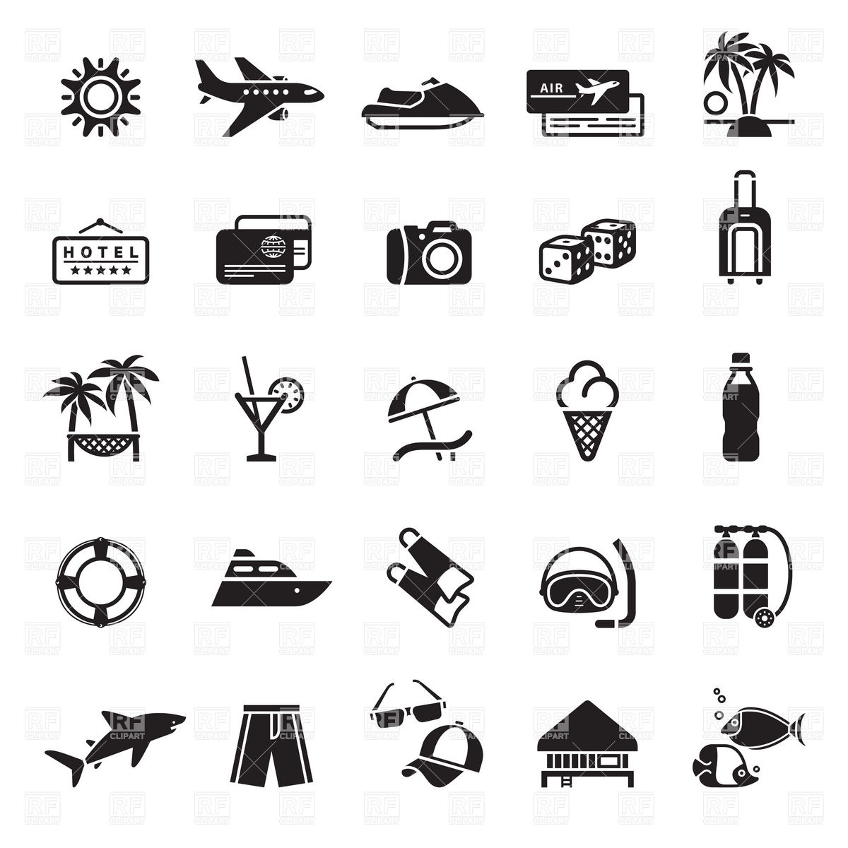 1200x1200 Vacation, Travel And Summer Holiday Icons Vector Image Vector