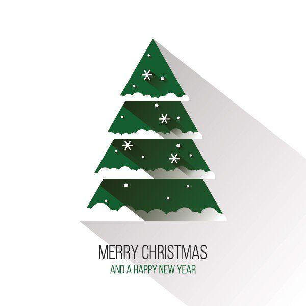 600x600 Flat Christmas Tree Vector Graphic Happy Holidays, Long Shadow