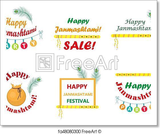 560x470 Free Art Print Of Happy Krishna Janmashtami Set Of Typography With