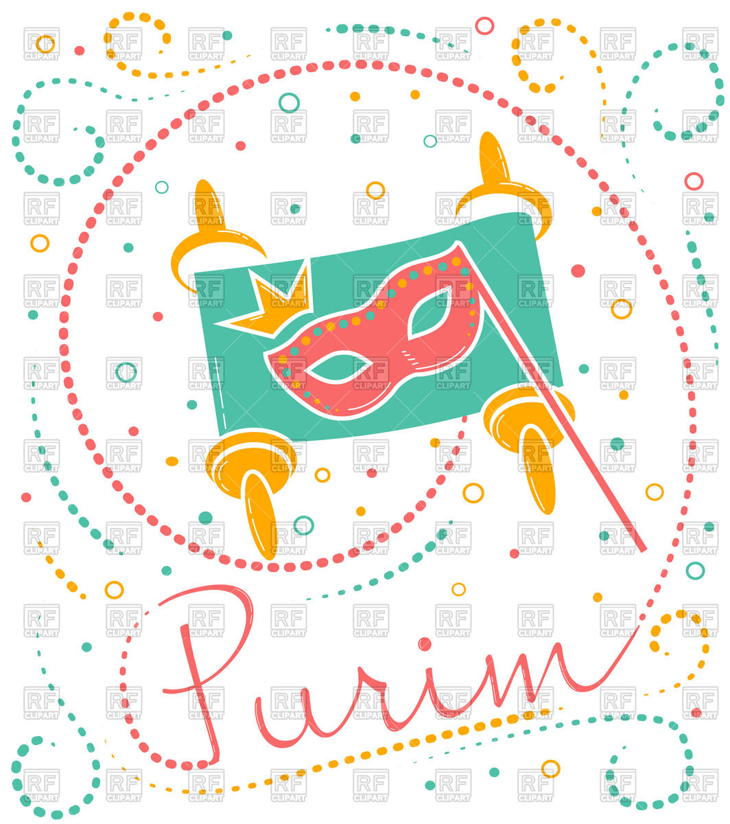 1064x1200 Greeting Card, Holiday Purim, Carnival Mask Vector Image Vector