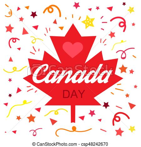 450x470 Happy Canada Day Celebration Banner. 1st Jule Holiday. Vector.