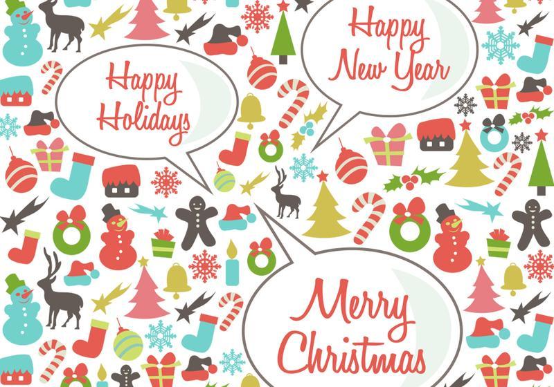 800x560 Retro Happy Holidays Vector Background