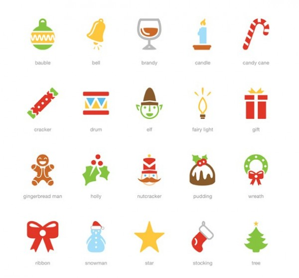 600x557 20 Festive Holiday Vector Icons Pack