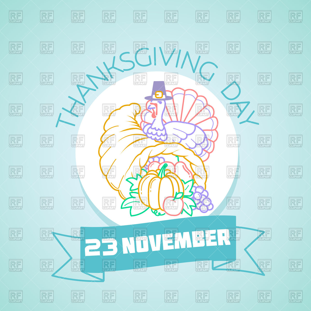 1200x1200 Thanksgiving Day Poster With Turkey