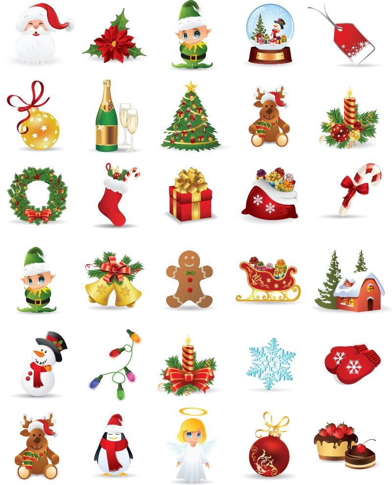 800x988 Christmas Elements Vector Collection Free Vector Graphics All