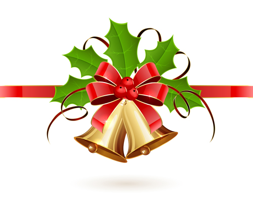 500x405 Christmas Holly Berry With Bells Vector Background 05 Free Download