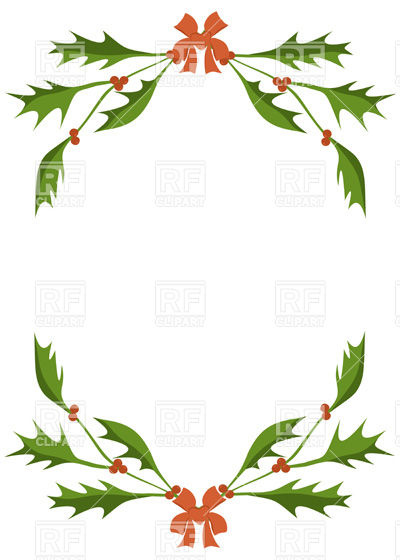 400x560 Frame Of Holly Berry Branches Vector Image Vector Artwork Of