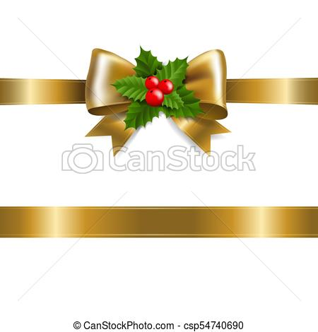 450x470 Golden Bow With Holly Berry With Gradient Mesh, Vector... Eps