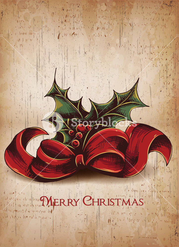 723x1000 Christmas Vector Illustration With Bow,holly Berry,cranberry